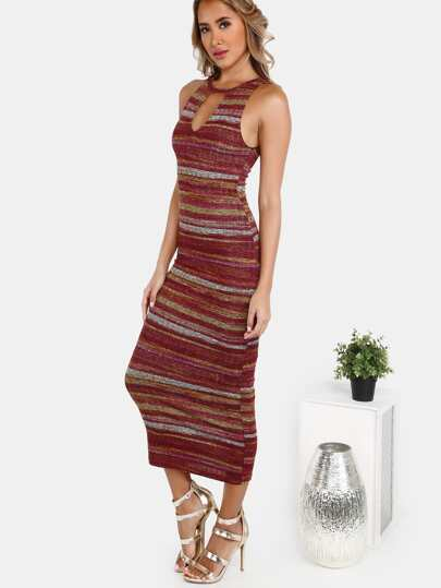Peakaboo Rib Knit Midi Dress PLUM MULTI