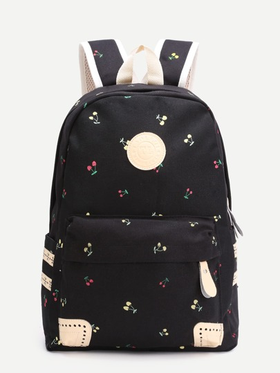 Black Cherry Front Zipper Canvas Backpack