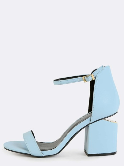 Pastel Cut Out Block Heels ASH BLUE
