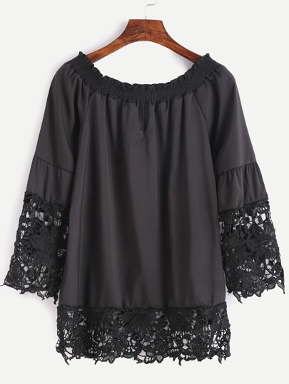 Black Boat Neck Crochet Trim Top