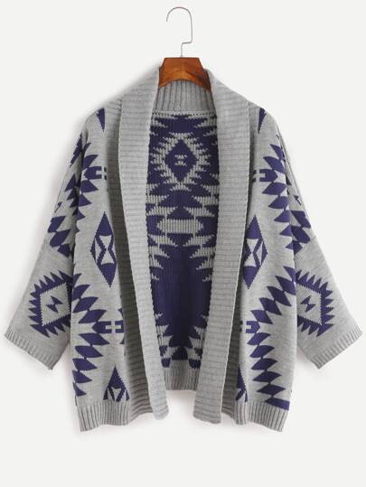 Grey Batwing manches longues Geometric cardigan chandail