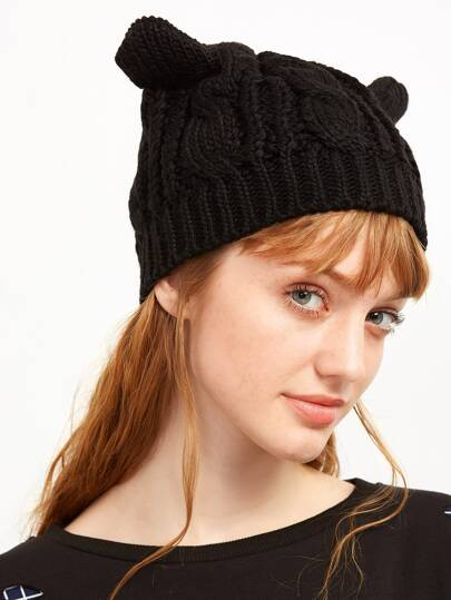Black Cat Ear Knit Hat