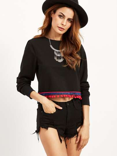 Black Pom Pom Trim Crop Sweatshirt