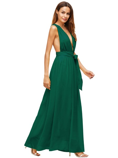 Dark Green Deep V Neck Self Tie Waist Maxi Dress