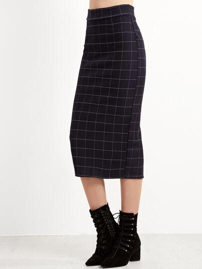 Navy Plaid Slit Back Skirt