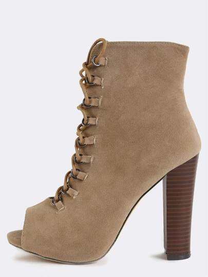 Lace Up Suede Stacked Heel Boots TAUPE
