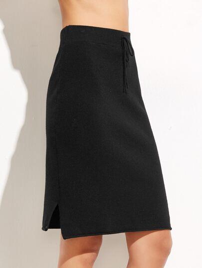 Black Tie Detail Split Skirt