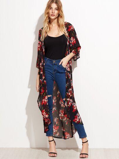 Kimono en mousseline imprimé fleuri - noir
