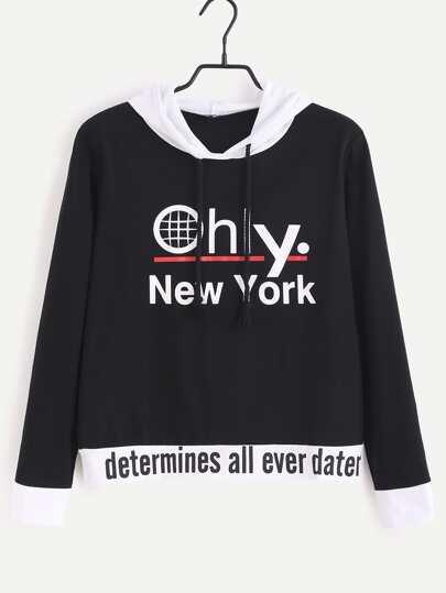Black Contrast Trim Letter Print Hooded Sweatshirt