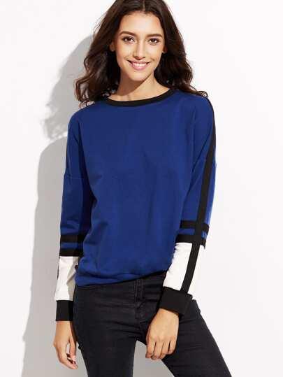Contrast Panel Drop Shoulder Sweatshirt