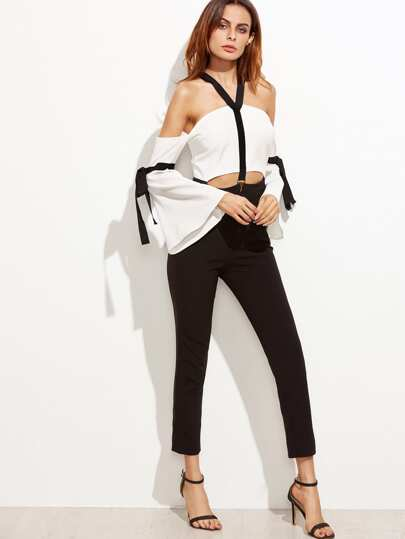 Color Block Cold Shoulder Bell Sleeve Bow Tie Jumpsuit