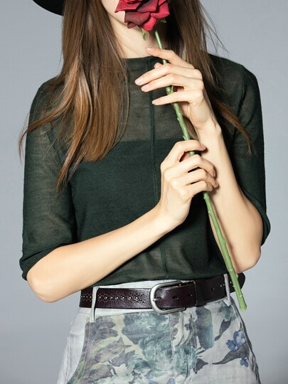 Army Green Crew Neck Sheer Knit Blouse