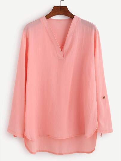 Pink V Neck Roll Tab Sleeve High Low Blouse