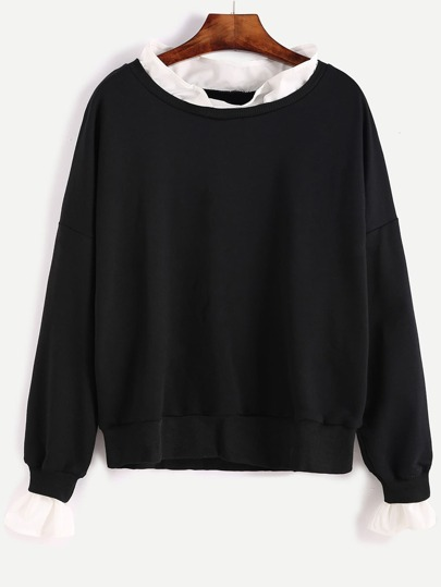 Contrast Collar Drop Shoulder Sweatshirt