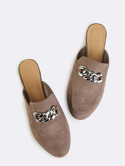 Faux Suede Flat Loafers TAUPE