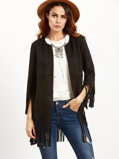 Black Suede Zip Up Fringe Jacket