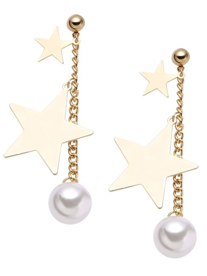 Gold Plated Star Faux Pearl Drop Earrings