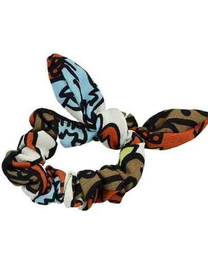 Red Printed Bowknot Shape Headband Accessory