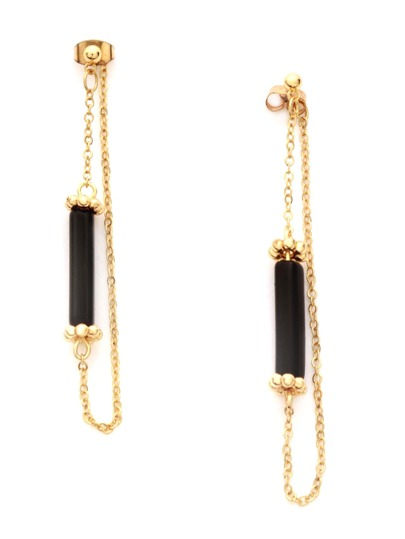 Gold Stone Bar Beaded Chain Hoop Earrings