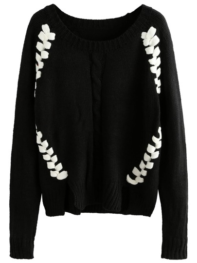 Black Contrast Woven Front Sweater