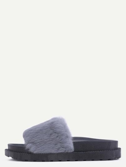 Pantoufles bout ouvert avec fourrure de lapin - gris