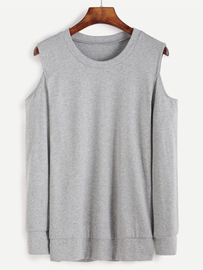 Grey Open Shoulder Sweatshirt