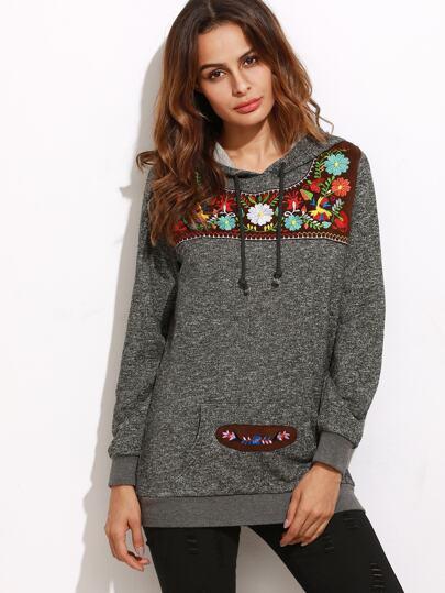 Sweat-shirt tricoté en patch broderie avec capuche - gris