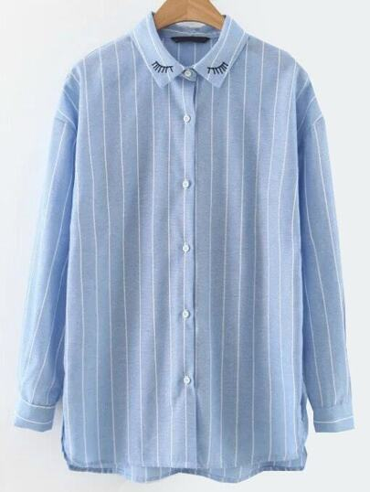 Blue Vertical Striped Eyelash Embroidered Blouse