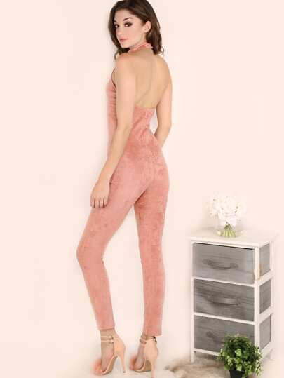 Pink Halter Neck Open Back Skinny Jumpsuit
