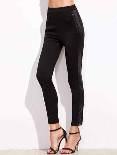 Black Mixed Media Skinny Pants With Zip Pocket