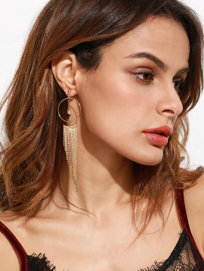 Gold Plated Star Chain Fringe Drop Earrings