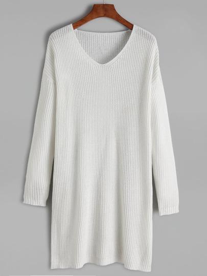 White V Neck Drop Shoulder Sweater Dress
