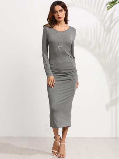 Heather Grey Ruched Slit Back Pencil Dress