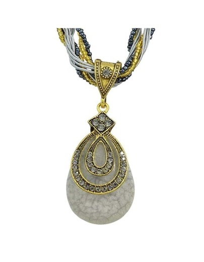 Gray Beads Chain Pendant Necklace