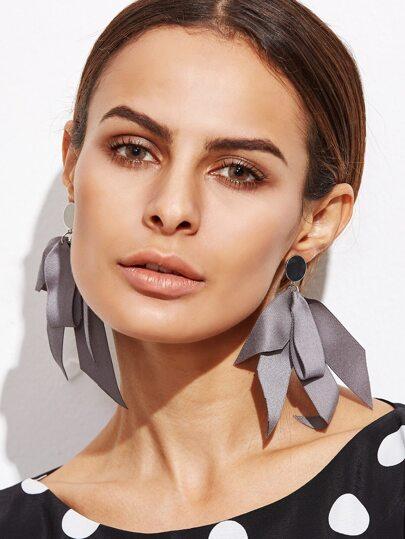 Grey Ribbon Statement Drop Earrings
