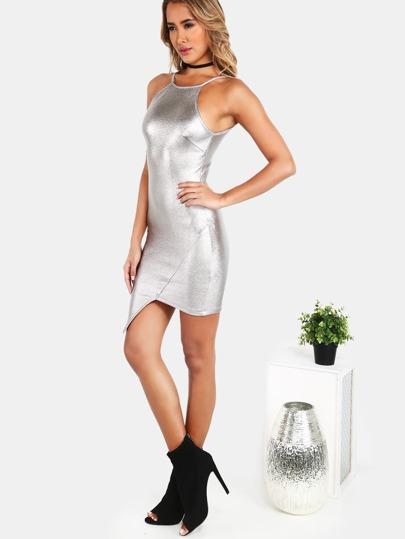 90's Neck Metallic Asymmetrical Bodycon Dress SILVER