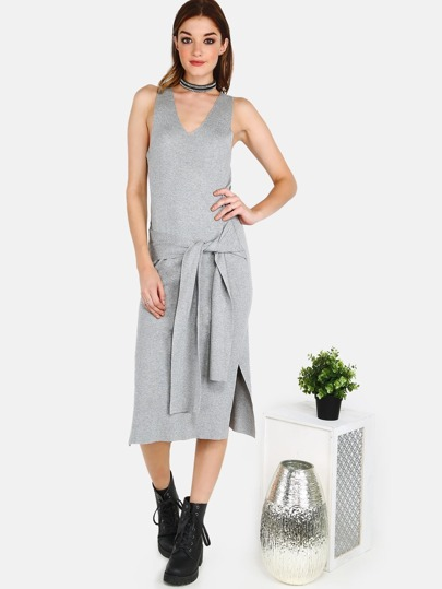 Rib Knit Waist Tie Dress GREY