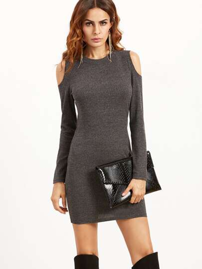 Grey Open Shoulder Ribbed Bodycon Dress