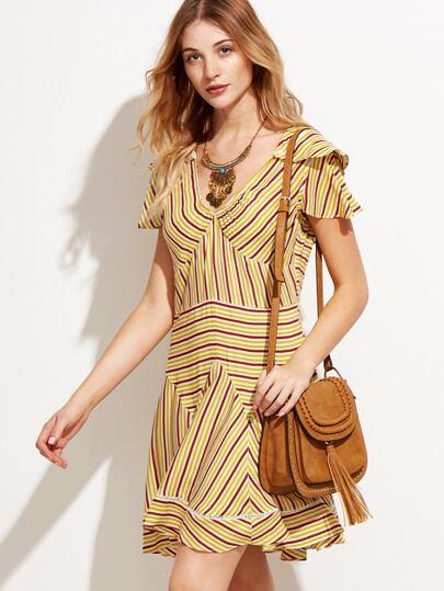 Yellow Mixed Striped Ruffle Dress