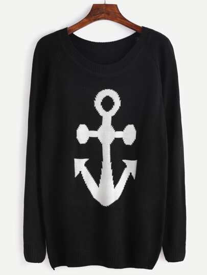 Black Anchor Print Raglan Sleeve Sweater