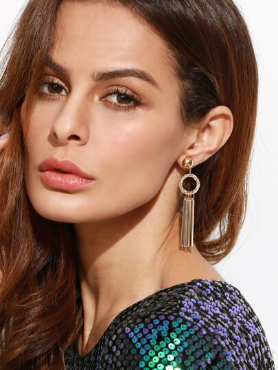 Gold Plated Circle Straight Bar Drop Earrings