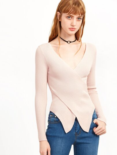 Pink V Neck Criss Cross Asymmetric Sweater