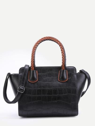 Black Embossed PU Handbag With Strap