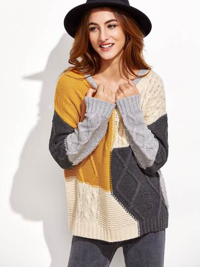 Mixed Knit-Pullover-Strickjacke-kontrastfarb e