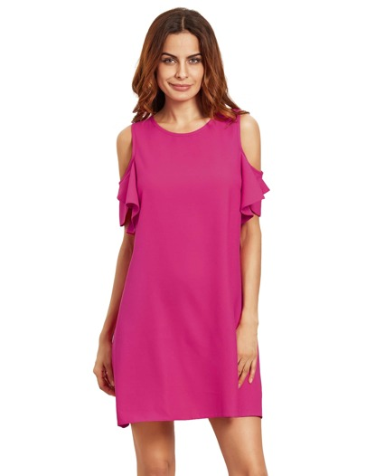 Hot Pink Cold Shoulder Ruffle Sleeves Shift Dress