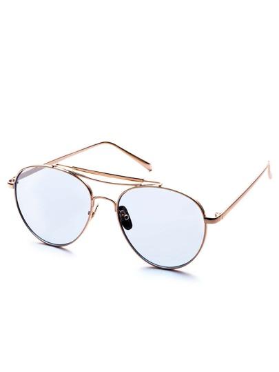 Metal Frame Double Bridge Blue Lens Aviator Sunglasses