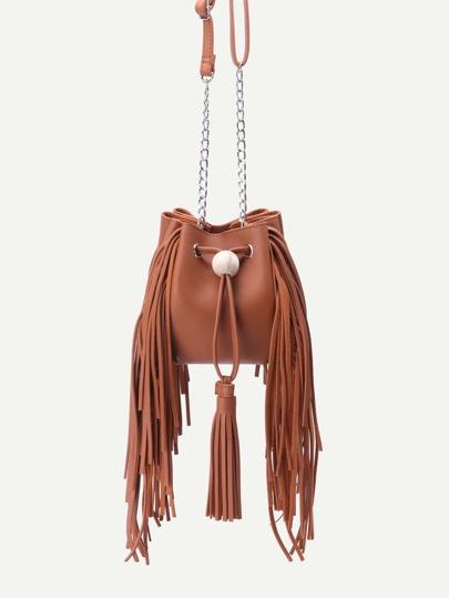 Brown PU Tassel Trim Drawstring Bucket Bag With Chain