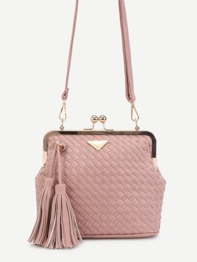 Pink Woven PU Tassel Trim Crossbody Bag