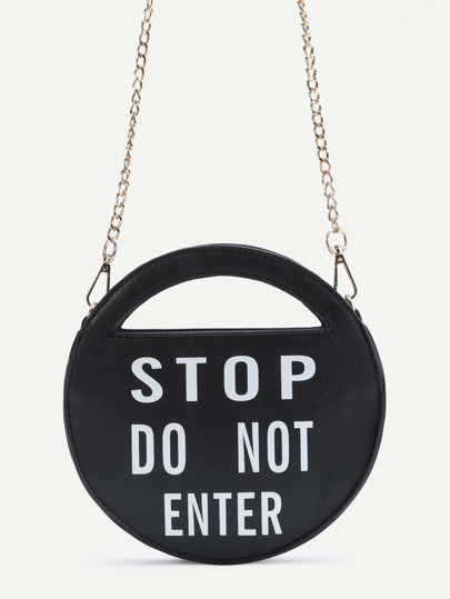 Stop Black PU Round Shaped Crossbody Chain Bag