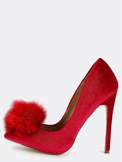 Velvet Stiletto Pom Pom Heels RED